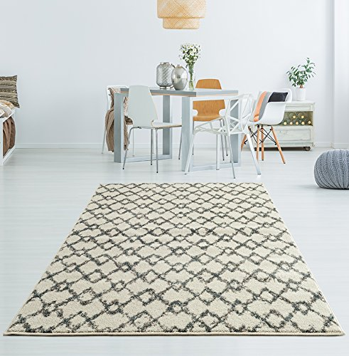 Adgo Milano Collection Modern Contemporary Trellis Lattice Moroccan Design Jute Backed Area Rugs High Pile Soft and Fluffy Indoor Floor Rug, Ivory Blue, 5' x 7'
