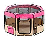 "Pawer 36""×18.5"" 8-Panel Foldable Pet Playpen, for Small Medium Cat/Dog/Puppy, Hot Pink+Beige, 600D Oxford Cloth Portable Indoor & Outdoor Kennel with Carry Bag, Multiple Sizes & Colors Available Review"