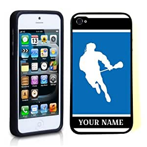 SudysAccessories Personalized Customized Custom Lacrosse Player Man Copy Blue ThinShell Case Protective iPhone 5 Case iPhone 5S Case-Personalized For FREE(Send us an Amazon email after purchase with your choice of NAME)