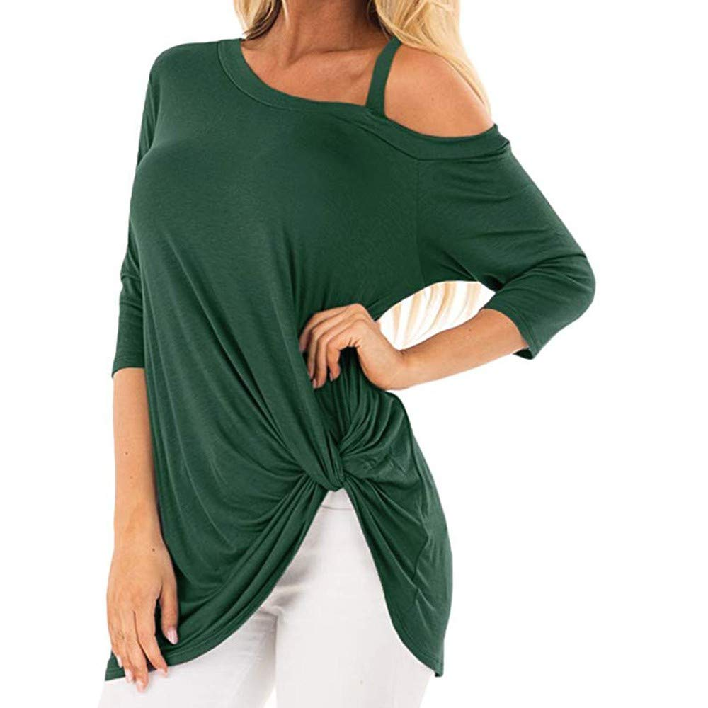 iQKA Women Oblique Off Shoulder Tee Shirt 3/4 Sleeve Knot Blouse Tunic Top(Green,Medium by iQKA (Image #1)