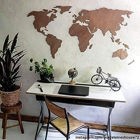 3d Weltkarte Aus Holz Mahagoni Wall Art 180x89 Cm Amazon De