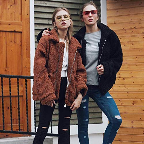Qualità Huixin Braun Invernali Costume Cappotti Cerniera Baggy Alta In Bavero Tasche Lunga Lana Donna Outerwear Manica Pile Con Giacca Di Anteriori Cappotto 1UtwrFxq1