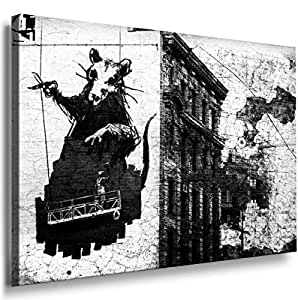 Banksy Graffiti Street Art -1024, Size 100x70x2 Cm. Printed On Canvas Stretched On A Wooden Frame.