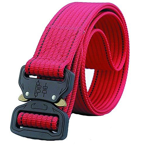 Belts For Men & Women, Nylon Belt, Tactical Webbing, Casual Breathable Waist Belt-red 125×4cm(49×1.5inch) ()