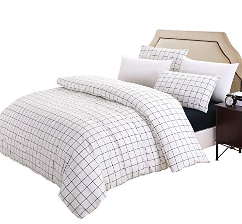 SUSYBAO Grid Bedding Set King Size Blue and White Plaid Pattern 3 Piece Washed Cotton Duvet Cover Set with Zipper Ties 1 Checkered Duvet Cover 2 Pillowcases Luxury Quality Soft Breathable Comfortable