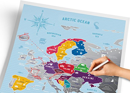 Scratch Off Europe Travel Map: 1DEA.me Scratchable Poster - Interactive Modern Geography Maps, Travel Tracker & Wall Art Decor for Kids & Adults - Made from Durable Flexible Plastic to Last Longer Photo #3