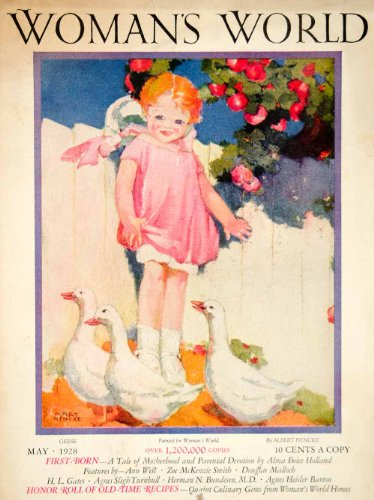 1928 Cover Womans World Albert Hencke Art Portrait Geese Child Girl Birds Animal - Original Cover from PeriodPaper LLC-Collectible Original Print Archive