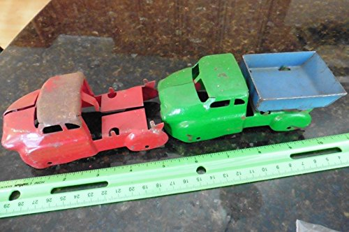 Toy Pressed Steel (2 Vintage Old Pressed Steel Toy MARX WYANDOTTE Airflow Farm Truck Tin PARTS)