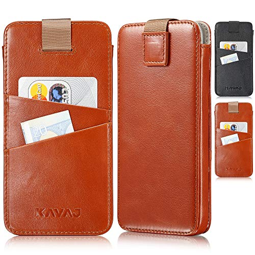 Leather Accessory Business Card - KAVAJ iPhone Xs/X Holster Case Leather Miami Cognac-Brown Slim-Fit iPhone Xs/X Pouch Leather Holster iPhone Xs/X Wallet-Case Genuine Leather Case Cover with Business Card Holder for Apple iPhoneXS/X