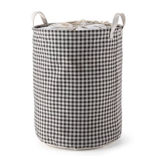Mee Life Round Folding Laundry Basket Checkered Brown