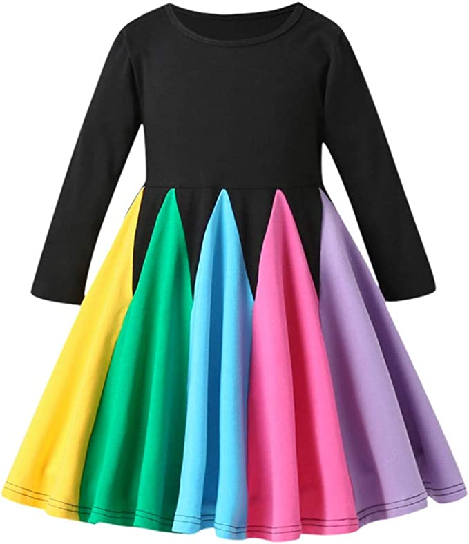 Toddler Baby Girl Kids Solid Casual Party Lace-up Bowknot Long Sleeve Dress Gown