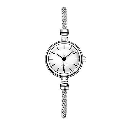 32b120558 Amazon.com: Womens Fashion Silver Tone Analog Quartz Bangle Cuff Bracelet  Wrist Watch, Unique Elegant Stainless Steel Wire Band, Roma & Arabic  Numerals (A): ...