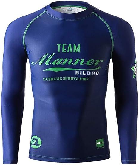 Traje de baño para Hombres Traje de baño de Manga Larga Camisa de Traje de Neopreno Rash Guard Camiseta de natación,Azul,M: Amazon.es: Deportes y aire libre