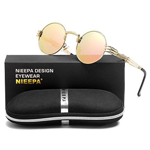 Steampunk Round Polarized Sunglasses Retro Vintage Circle Spring Style Frame Metal Hippie Sun Glasses for Men Women Classic Gothic Glasses Pink Lens/Wire/Gold Frame