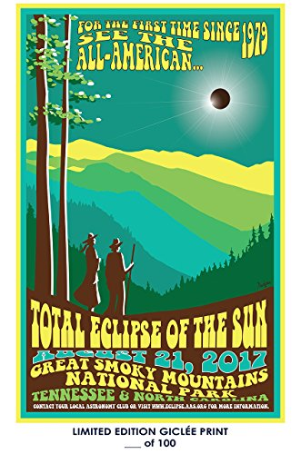 RARE POSTER tennessee SOLAR ECLIPSE north carolina 2017 great smoky mountains REPRINT #'d/100!! 12x18 by Lost Posters