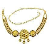 MagiDeal 110-115cm Crystal Flower Green Stone Pearl Gold Belly Chains Dance Body Jewelry Accessories - Type4