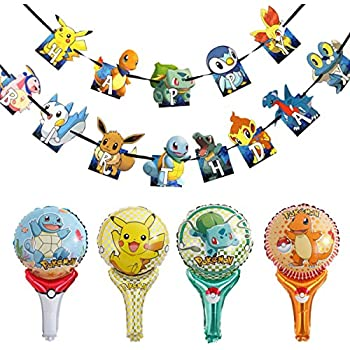 Pokemon Party Supplies - Party Banner And Balloons - Birthday Decorations -Party Decorations Birthday Kids