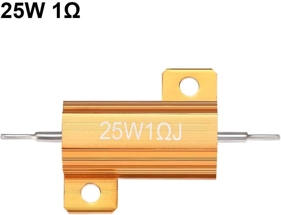 25 Watt 1 Ohm 5/% Aluminiumgeh/äuse Widerstand Schraubgewinde Geh/äuse Geh/äuse Aluminiumgeh/äuse Drahtgewickelter Widerstand Lastwiderst/ände Goldton 5St