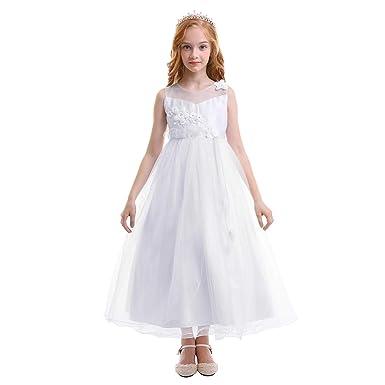 OBEEII Fille Robe Florale en Dentelle sans Manches Tulle Princesse Maxi Robe  de Communion Mariage Demoiselle 03f66e42937