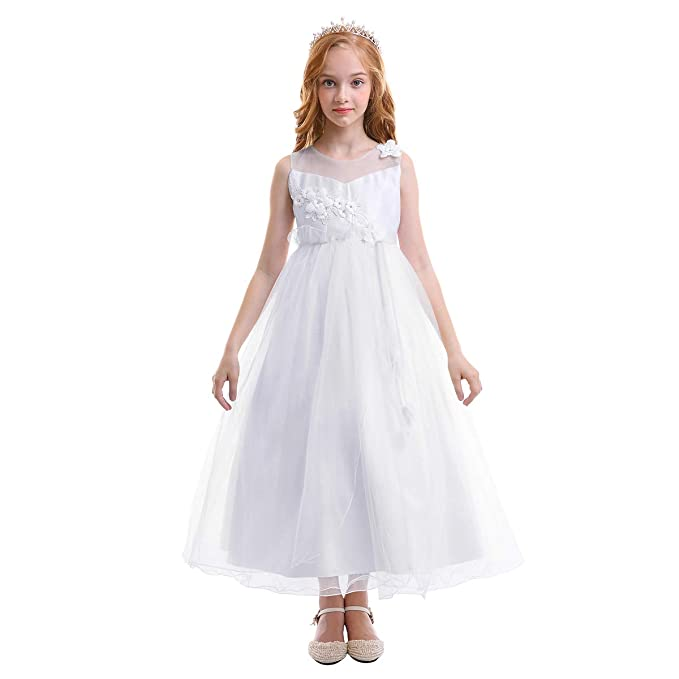 OBEEII Vestido Elegante de Niña Vestidos Floral Largos de Encaje Ropa Verano Disfraz de Princesa para Fiesta Ceremonia Comunión Boda Madrina ...