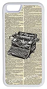 iPhone 6 Case, CellPowerCasesTM Vintage Typewriter [Flex Series] -iPhone 6 (4.7) White Case [iPhone 6 (4.7) V1 White]