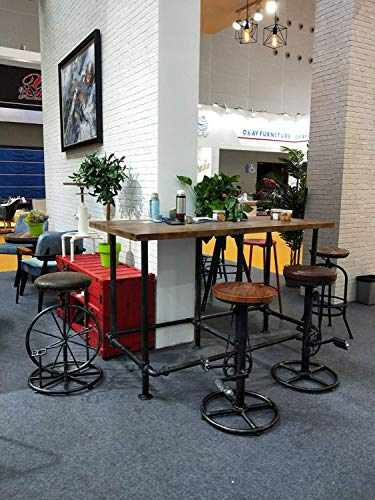 Rustic Bike Stool,Industrial Bar Stools,Metal and Wood,Swivel Bar Chair,Height Adjustable,Footrest Bicycle Pedal (Wood)