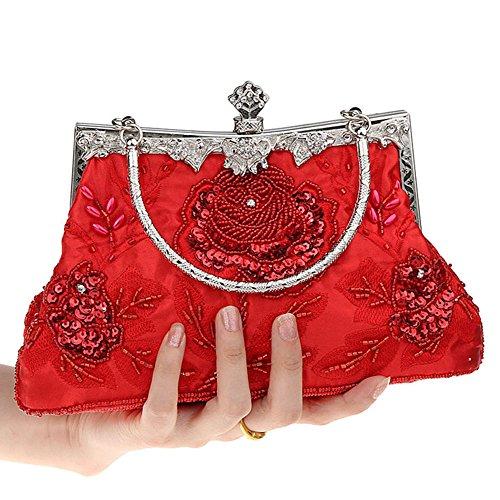 Sac De Main Red Sacs Mariage Style Soirée Et MIMI Les Vintage KING D'embrayage De À Paillettes À Femmes Main Sac Main De De Fête À Perlées Pour tBFnFCRqwx