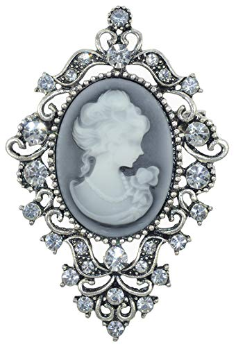 Gyn&Joy Old Silvery Tone Vintage Inspired Victorian Cameo Lady Maiden Crystal Rhinestone Pin Brooch BZ183S