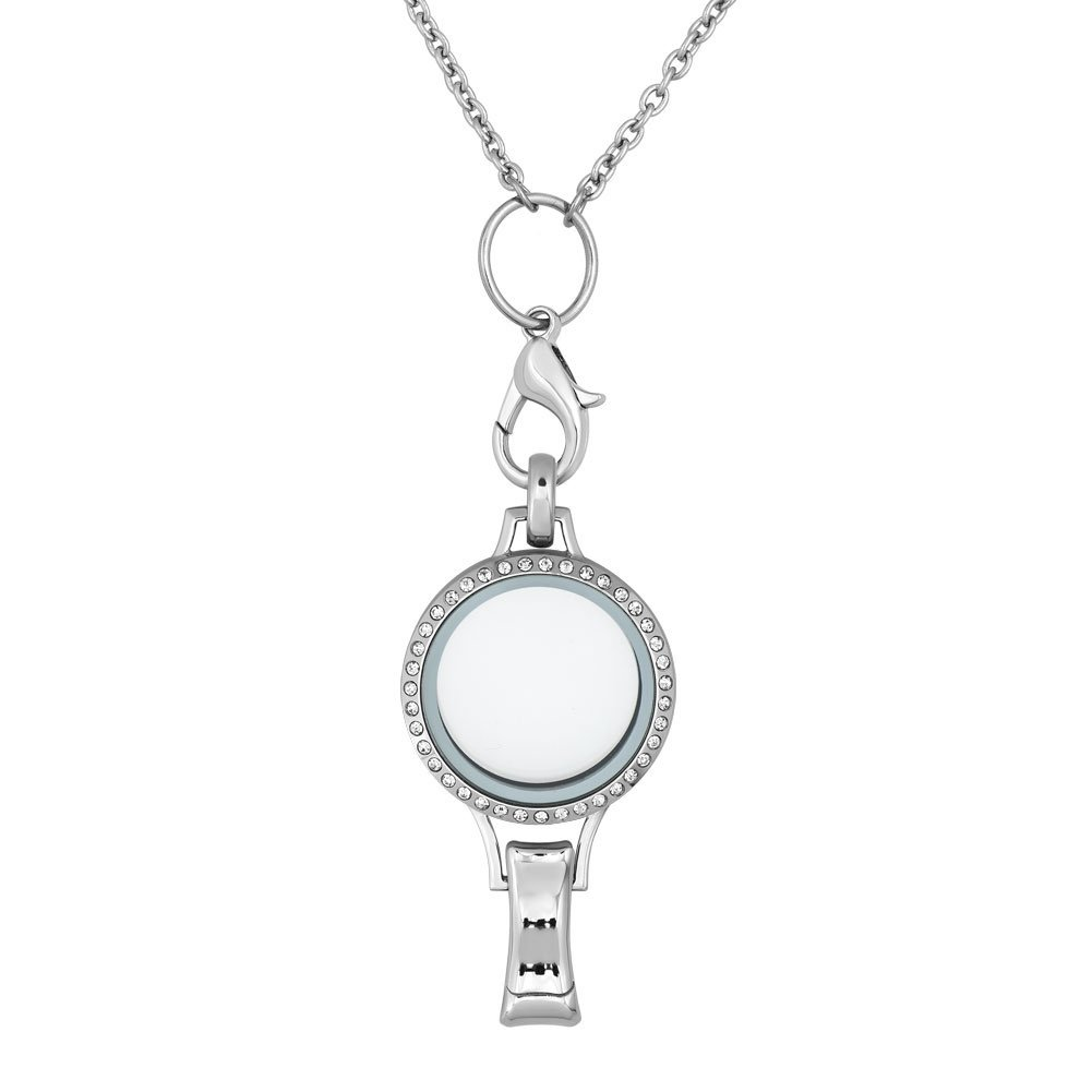 Mel Crouch Crystal Glass Floating Charms Living Memory Locket Lanyard Badge Holder Necklaces Magnetic