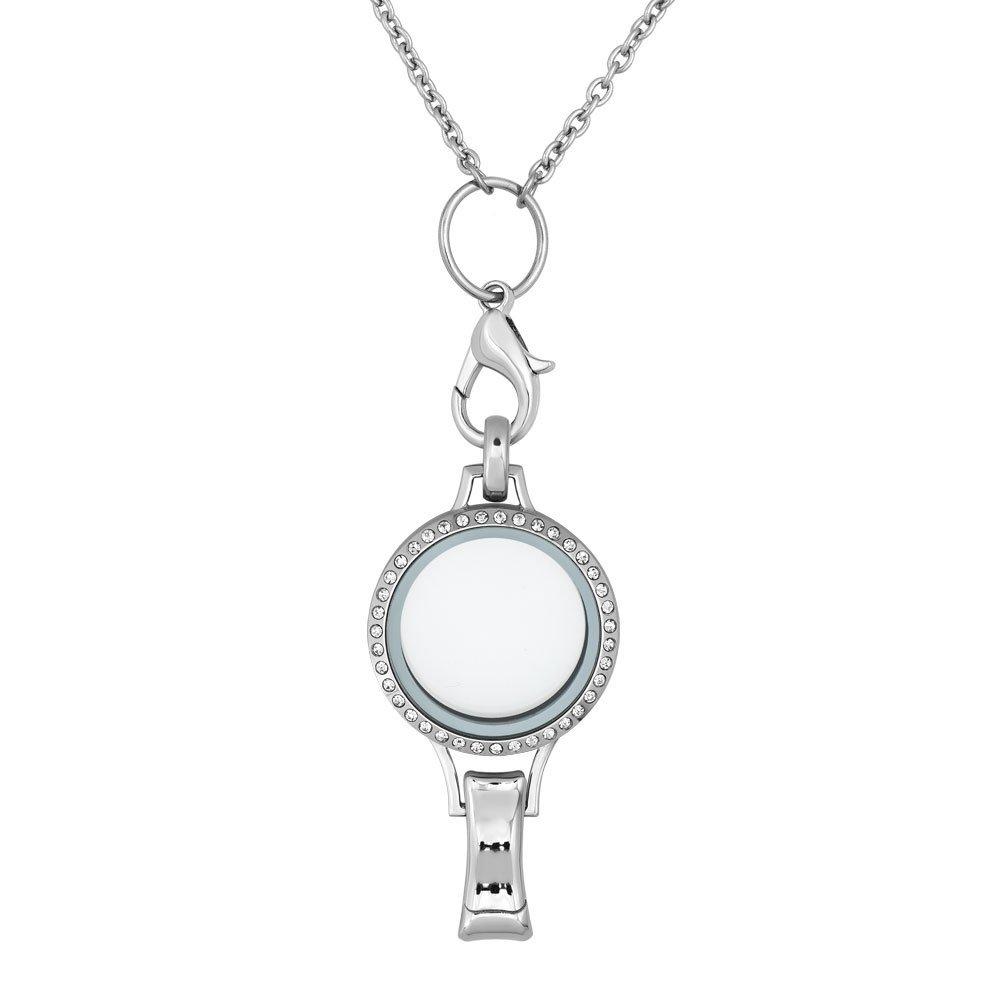 ThirdTimeCharm Office Locket Lanyard Necklace ID Badges Holder Jewelry (Crystal)