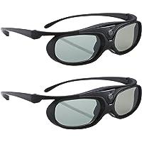 BOBLOV Active Shutter 3D Glasses DLP-Link USB Black for BenQ W1070 W700 Dell Projector (Black-2 Pack)