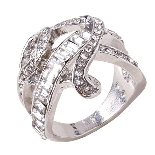 WensLTD Clearance! 2-in-1 Womens Vintage White Diamond Silver Engagement Wedding Band Ring Set (#6, Silver-4)