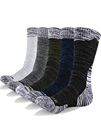 YUEDGE Men's 5 Pairs Performance Cotton Wicking Athletic Crew Cushion Casual Dress Socks