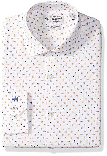 Original Penguin Men's Slim Fit Performance Spread Collar Printed Dress Shirt, White Print, 16.5 34/35 by Original Penguin