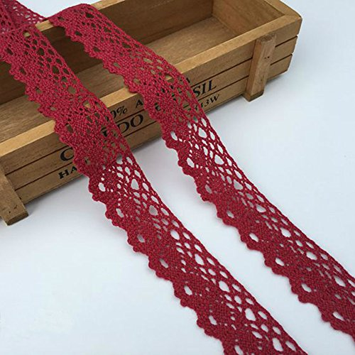 """10 Yards Cotton Ribbon Embroidery Cotton Lace Trim for Sewing Supply Gift Wrap & DIY Projects 1-1/4"""" Wide 4 Colors (Dark red)"""
