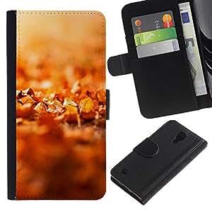 KLONGSHOP / Tirón de la caja Cartera de cuero con ranuras para tarjetas - Nature Beautiful Forrest Green 43;; - Samsung Galaxy S4 IV I9500