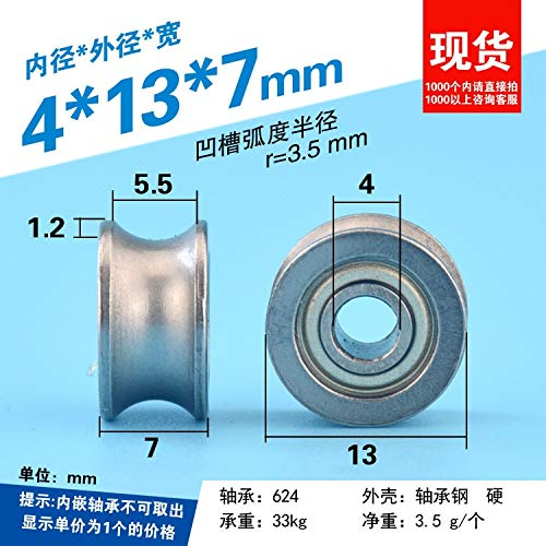 Fevas 4137mm Bearing Wheel, U Groove, Groove, 604UU Pulley, Roller, 604zz Steel Wheel, Wheel Mute