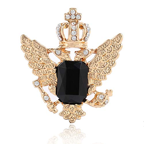 Elegant Sapphire Crown Double-Headed Eagle Wings Brooch Pin Badge Pin Charm Jewelry Accessories (Black Gold)