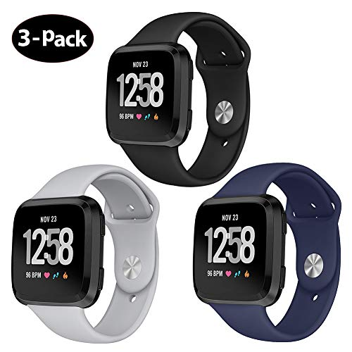 Kmasic Sport Band Compatible Fitbit Versa/Fitbit Versa Lite Edition 3 Pack, Soft Silicone Strap Replacement Wristband Compatible Fitbit Versa Smart Watch, Large, Black, Gray, Ocean Blue