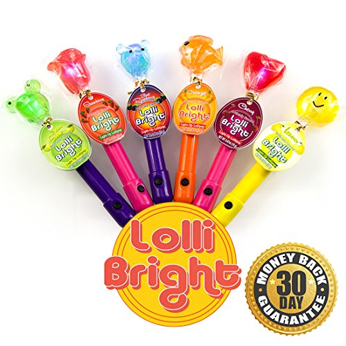 LOLLIBRIGHTS: America's First Color Changing Light-Up Lollipop! 6 Delicious Flavors; Green Apple Frog, Strawberry Rose, Smiley Lemon, Orange Goldfish, Blue Raspberry Bear, and Cherry Heart! (Lollipop Gift)