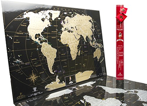 Deluxe Black Gold Scratch off World Map with Red Tube - Special Edition, Best gift for travelers Premium Quality Tracker Travel map poster (Love - Valintines Ideas Day