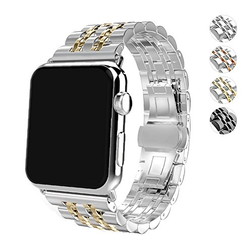 (WAfeel Compatible for Apple Watch Band Luxurious Crystal Rhinestone Diamond Stainless Steel Wristband Metal Buckle Clasp iWatch Strap Stripe Replacement Bracelet for IWatch Series3(Gold/Silver, 42mm))