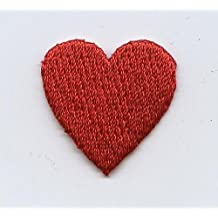 """Small .75"""" Red Heart Iron on Embroidered Patch"""