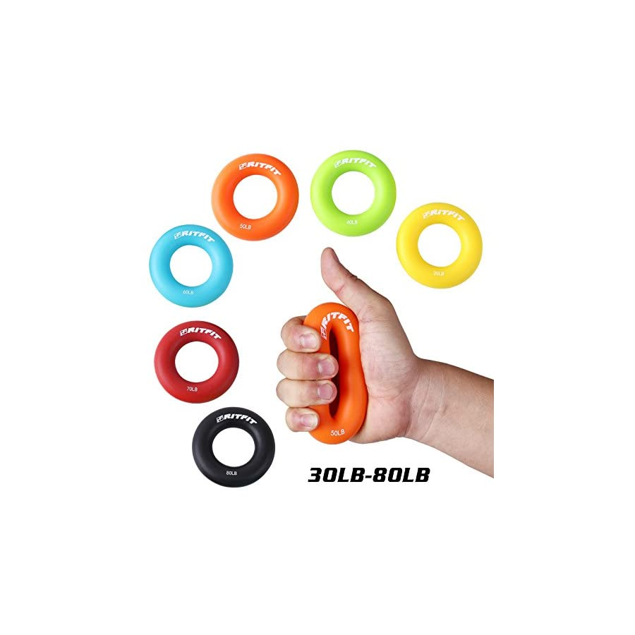 Best Hand Grip Strengthener Rings,A Forearm Wrist & Finger Exerciser,Life Time Warranty! Rock Climbing, Athletes & Musicians Stress Relief & Rehabilitation,Set of 6 Resistance Levels