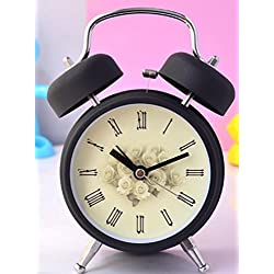 Ayzr Classic Double Bell Alarm Clock High-End Retro Rome 3.5 Inch Bedroom Living Room Lounge Student Dormitory Clock,Black
