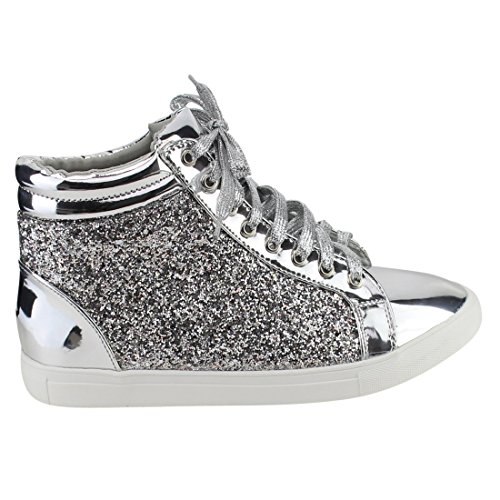Women Fashion Light Weight Glitter Metallic Leatherette Quilted Lace Up Shoe Lace Up Low Top Stylish Sneaker (7.5, Silver Sparkle-25)