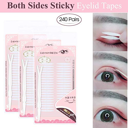 3 Packs Ultra Invisible Double Sided Sticky Double Eyelid Tapes Stickers, Medical-use Adhesive Fiber, Instant Eyelid Lift Without Surgery, Perfect for Hooded, Droopy, Uneven, Mono-eyelids (Lift Surgery Eyelid)