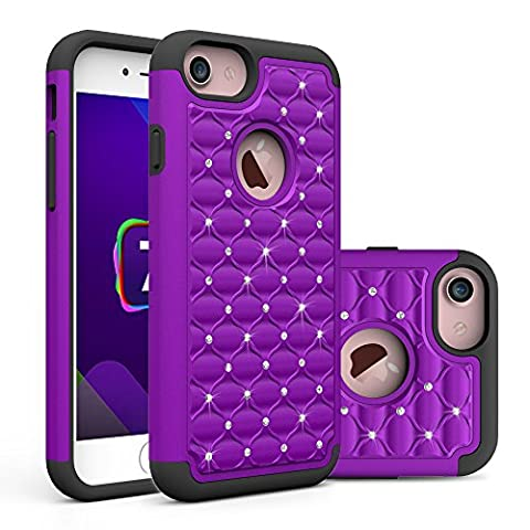 iPhone 7 Case, Asstar Hybrid Defender Dual Layer Protection Slim Trendy Hard Studded Rhinestone Crystal Bling Scratch Protection Hybrid Armor Case for Apple iPhone 7(2016) (purple (Iphone 6 Case Otterbox Hunting)
