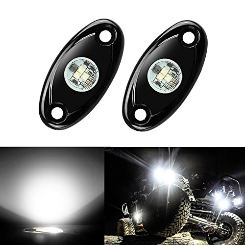 - 2 Pods LED Rock Lights Kit, Ampper Waterproof Underglow LED Neon Trail Rig Lights for Car Truck ATV UTV Baja Raptor Offroad Boat Trail Rig Lamp Underbody Glow (White)