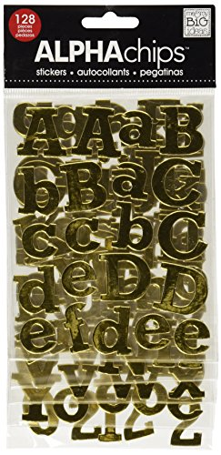 me & my BIG ideas Alpha Chips Designer Chipboard Letter Stickers, Rockwell Alphabet Gold Foil ()